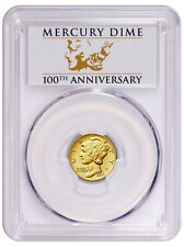 2016-W 1/10 Oz Gold Mercury Dime Centennial PCGS SP70 FS Anniv. label SKU40777