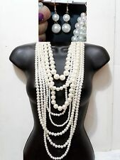 Chunky Long Multi Layer Row Faux Pearl Bead Beaded Necklace Set Cream Statement