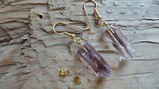 "Amethyst Earring set or pendant set (6 pair, or 12 pieces) 1"" long gold XXXXX"