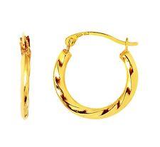 14K Yellow Gold Shiny Twisted Swirl Pattern 0.3g Round Circle Hoop Earrings