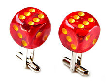 Red Swirl Dice Cufflinks - Men's Jewelry - Handmade - Gift Box Included