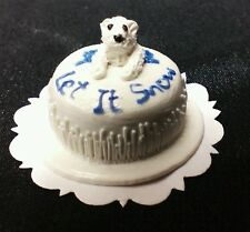 Dollhouse 1:12 scale miniature  Let it Snow Polar Bear cake by Bright deLights