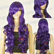 33 inch Hi_Temp Series Dark Purple Curly wavy Long Cosplay DNA Wigs 967737