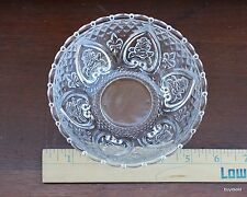 Vintage KIG Malaysia Dish Clear Pressed Glass Heart Fleur De Lis Roses