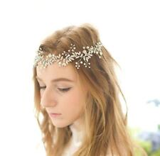 Exquisite Olive Bridal Halo Crystal Silver Beaded Vine Pearl Wedding Headpieces