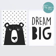 Unisex Nursery Art Print Black & White A3 Two Pack | Large Bear ON SALE NOW!!