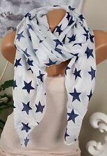 Seidenschal Seide HALSTUCH Schal Weiß Blau Sterne Cotton Tuch EDEL LUXUS Italy