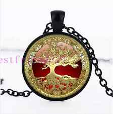 Gold Tree of Life Cabochon Glass Black necklace for women men Jewelry