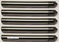 """LOT OF 5 PCS 1/4"""" 2 FLUTE 90 DEGREE CARBIDE CHAMFER MILL - TiALN COATED"""