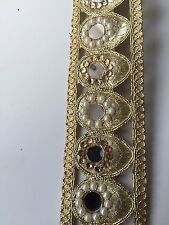 ATTRACTIVE INDIAN PEACOCK SHAPE MIRRORS PEARLS/CRYSTALS TRIM/LACE-Sold By Meter