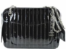 CHANEL MATELASSE Mademoiselle Chain Shoulder Bag black 100% Auth From JAPAN