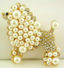 Kenneth Jay Lane Faux Pearl & Crystal Poodle Pin   3""