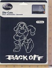 Disney Grumpy BACK OFF Vinyl Decal Side or Rear Window Sticker Auto Truck 3929