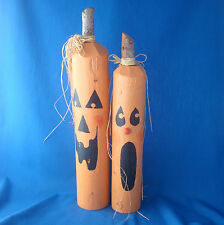 set of 2 wood fence post jack-o-lantern pumpkin Halloween figures hand crafted