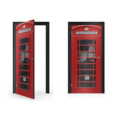 British red telephone box vinyle autocollant pour porte/doorwrap/porte peau/doo...