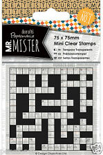 Docrafts Papermania clear mini rubber stamp Mr Mister Crossword 75x75mm man men