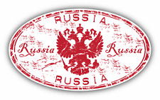 "Coat Of Arms Russia Grunge Rubber Stamp Car Bumper Sticker Decal 5"" x 3"""