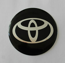 TOYOTA Sticker/Decal - Chrome on Black 60mm Diameter HIGH GLOSS DOMED GEL FINISH