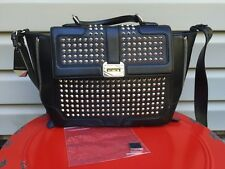 REBECCA MINKOFF MINI ELLE WITH STUDS LEATHER CROSS BODY SATCHEL BLACK EUC! $395