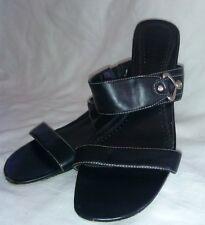 GEORGE Black Open Toe Slide In Strap Heel Sandal Shoes Women's Size 9 1/2