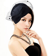 Womens Dress Veil Netting Fascinator Wool Felt Pillbox Hat Party Wedding A082