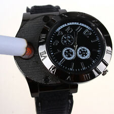 Military Men Lighter Watch USB/ Gas Cigarette Rechargeable Windproof Flameless