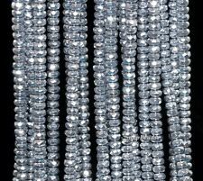 """6MM SILVER HEMATITE GEMSTONE SILVER FACETED RONDELLE 6X3MM LOOSE BEADS 15.5"""""""