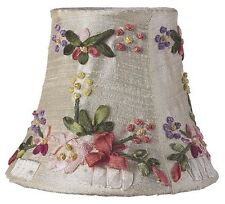 Silk Ribbon Embroidery Clip-On Chandelier and Sconce Silk Shade, #2008