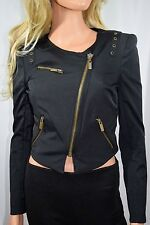 bebe Black Moto Style Zip Up Crop Silhouette Jacket   Size X Small