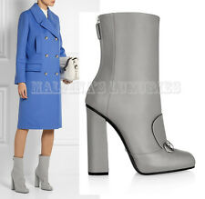$1,100 GUCCI ANKLE BOOTS GREY LEATHER HORSEBIT DETAIL LILLIAN IT 38 US 8