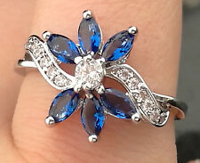 NATURAL BLUE SAPPHIRE & WHITE CZ STERLING 925 SILVER RING 6.5 Gold PLATED