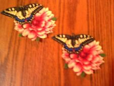 Pretty Butterfly On Flower - 2 - Iron-On Appliques (A)