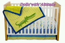 NEW Zutano Crib Set Alligators 4 Piece Quilt Fitted Sheet Dust Ruffle Diaper