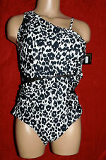 Vee One Piece One Shoulder/Strap Sz 14 Retail $149 Black/White Print Netting