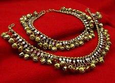 Indian Bollywood Gold Tone Ankle Bracelet Anklet Payal Ghungroo Pajeb Jewelry