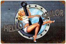 Lethal Threat Pin Up Girl Navy Sailer Military Metal Sign Man Cave Shop LETH074
