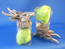 Animal Head Deer Buck Shot Glasses (2) Shooter Schnapps Glass and Pewter