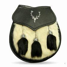 Semi Dress White Rabbit Fur Stag Kilt Sporran with Black Tassels Free Chain Belt