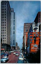 "Fort Worth, Texas Postcard ""Houston Street, Looking North"" Downtown Scene c1950s"
