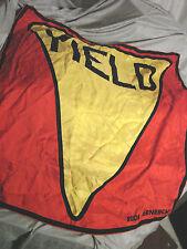 """Vintage 60s Rudi Gernreich SCarf YIELD SIGN Red Silk 30"""""""