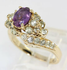 Diamond amethyst ring 14K yellow gold oval round brilliant cluster 1.35CT sz5.25