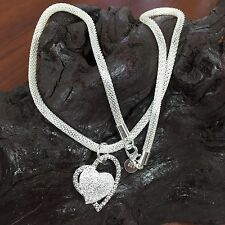 925 STERLING SILVER DOUBLE HEART NECKLACE 18 INCHES FREE SHIPPING