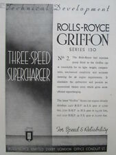 3/1946 PUB ROLLS-ROYCE AERO ENGINES GRIFFON SERIES 130 MOTEUR AVIATION AD