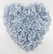 Shabby Chic Ruffle Heart Cushion Throw Pillow Blue French Country 42x41cm