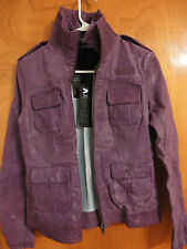 Superdry $550 Cute Megan All Double Collar Purple Leather Moto Biker Jacket S