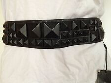 NEW BCBGMAXAZRIA BCBG BELT BLACK STUDDED WIDE WAIST WOMENS ACCESSORIES SIZE XS