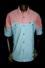 NEW TRUKFIT LIL WAYNE YMCMB casual salmon/blue DENIM button long sleeve SHIRT *M