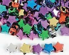 50 Star Metallic Pony Bead Plastic Gold Silver Red 3/8""