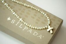 Silpada Freshwater Pearl Bead Cross Pendant Sterling Silver Necklace N2178 RARE