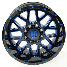 "20"" 0 KMC XD820 Grenade Blue Tint Black Wheels Rims 6x135 Ford F150 F-150 Truck"